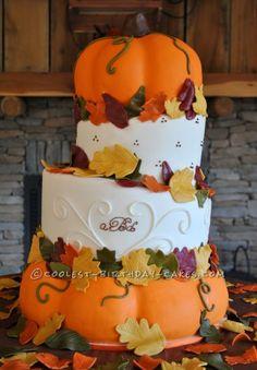 Coolest Pumpkin Wedding Cake... a beautiful harvest time homemade cake idea.