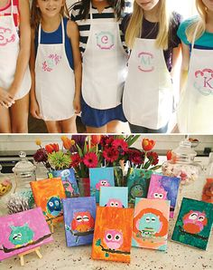 Painting Birthday Party with a painted teal ombre cake with rainbow layers, DIY monogrammed apron and paint set favors + mini owl paintings