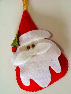 Papai Noel delicado feito com feltro passo a passo | Revista Artesanato