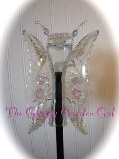 Butterfly Garden Totem, Glass garden art, yard art, repurposed recycled up cycled glass, unique garden decor, sun catcher,  www.TheGlassyGardenGal.com