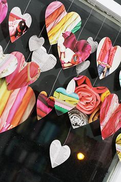 journal, idea, valentine day, diy crafts, paper hearts, valentines day decorations, garlands, papers, crafts for old magazines