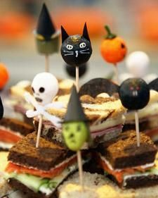 party appetizers, halloween parties, halloween party foods, finger sandwiches, tea sandwiches