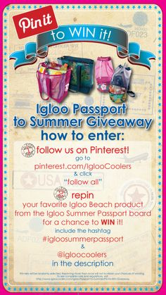 Igloo Passport to Summer #Giveaway! #pintowin  Follow all of Igloo Cooler's pinterest boards and repin your favorite Igloo MaxCold Beach cooler bag from the Igloo Summer Passport board for a chance to win it!  Official Rules: http://www.igloocoolers.com/Igloo-Passport-to-Summer-Pin-to-Win-Giveaway