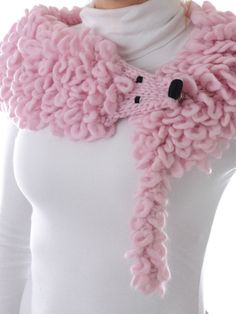 Pink Faux Fur Stole -- cute.  Would be really cool with dragon stitch.