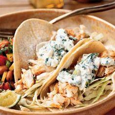 fish tacos with lime-cilantro crema  #recipes