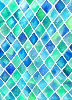 Hand Painted Cobalt Blue & Emerald Green Watercolor Pattern Art Print