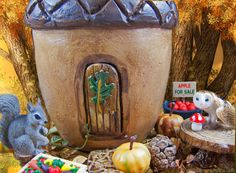 Acorn Fairy House in the fall fairy garden.