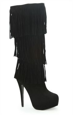 Deb Shops High Heel Boot with Platform and Layered Fringe $34.23