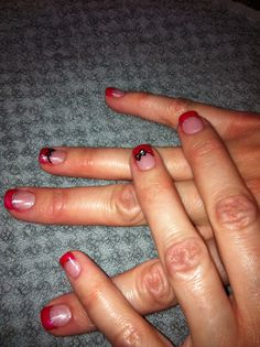Hot pink tips with soft pink nail beds & black bows!