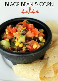 Black Bean and Corn Salsa. The perfect side dish for tailgating. #salsa #football