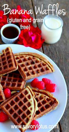 Grain Free Banana Waffles -  savorylotus.com #grainfree #glutenfree #waffles #Paleo #recipes #food