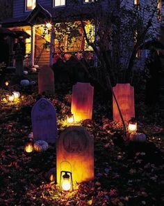 Halloween decorations : DIY Tombstone Yard Halloween Decorations