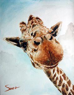 Giraffe art print watercolor giraffe painting by SignedSweet, $15.00