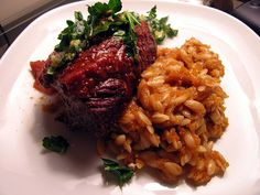 Babe, I'm on Fire: Braised Short Ribs with Horseradish Gremolata and Pumpkin Orzo.