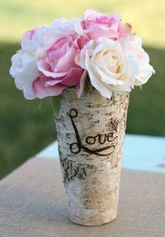 decor, flowerswed idea, birches, diycreat idea, crafti, birch wood, centerpieces, birch vase, wood burn