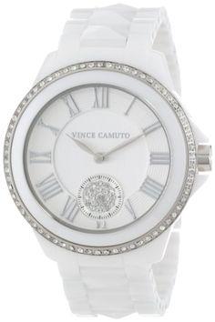 Vince Camuto Women%27s VC%2F5057SVWT Swarovski Crystal Accented Silver-Tone White Ceramic Pyramid Bracelet Watch