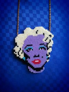 Marilyn Monroe Andy Warhol inspired perler bead necklace