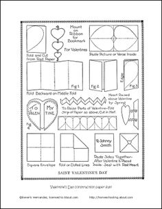 instructions to make a Valentine Bookmark, Heart Pop-up Valentine Card and a square envelope