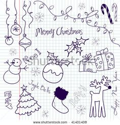 stock vector : Cute Christmas doodles