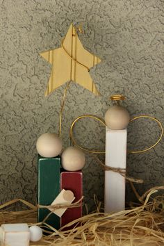 Simple Distressed Wooden Nativity Set:  really like the angel and star