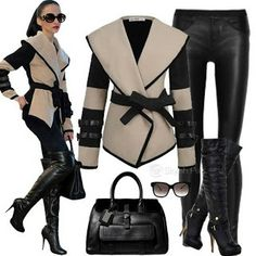 Gorgeous straped blazer,handbag,and slim pent combination Latest Women Fashion