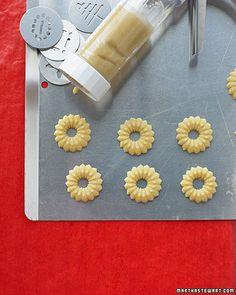Spritz cookies with glaze