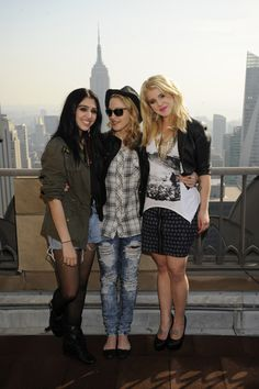 Kelly Osbourne poses with Madonna and Lola for new clothing line