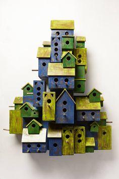 Aviary outdoor decorations, birdhouses, tiny houses, anthropologie, aviari garden, gardens, garden sculptures, birds, bird hous