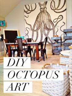 DIY Octopus Art- brillant idea for large canvas artwork! Take a shower curtain, stretch over a 2x4 frame, staple and hang!