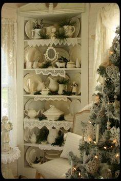 doili, china cabinets, christmas displays, white christmas, cottage christmas, corner cabinets, cottage homes