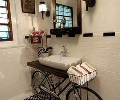 bike in the bathroom