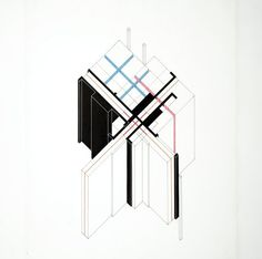 """Peter Eisenman, """"House VI, Cornwall, Connecticut"""" (ca. 1972)   architectural drawing   ink and vinyl on Mylar    Source: http://www.sfmoma.org/explore/collection/artwork/120778?artwork=120778#ixzz1jCBxakHX   San Francisco Museum of Modern Art"""