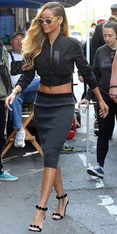 Rihanna in stylish black cropped top & Grey stretch midi pencil skirt I street style #fashion