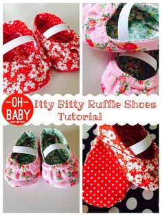 Itty bitty ruffle shoes for a baby shower