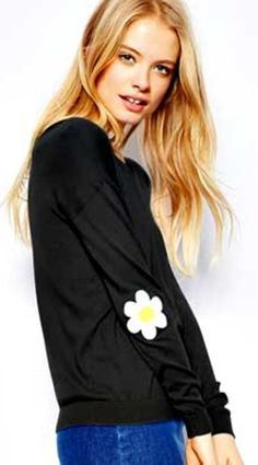 """Daisy elbow patch sweater - cute for spring or cruise - read """"What to Pack for a Cruise to Alaska"""" - (article) - http://boomerinas.com/2014/02/18/what-to-pack-for-a-cruise-to-alaska-3-necessities-casual-outfit-ideas/"""
