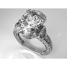 Large Oval Diamond Cathedral Graduated pave Engagement Ring This would look great on my finger!