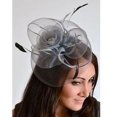 Gray or Black Mesh Rose Couture English Hat Fascinator Headband for weddings, pa $45.00