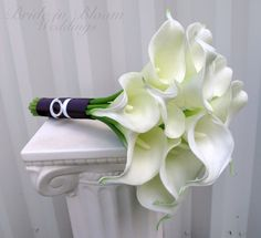 calla lilly wedding bouquet with teal ribbon | Calla lily Wedding bouquet white real touch bridal bouquet