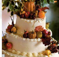 festiv cake, autumn cake, cake idea, fall cakes, marzipan fruit, fall weddings, fun cake