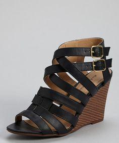 Look at this #zulilyfind! Black Elisha Wedge Sandal #zulilyfinds