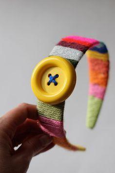 Wrap around headband with yarn