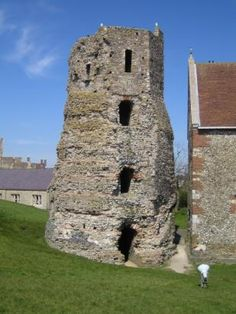 The Roman Lighthouse, the oldest building in England, dating around 50 AD, Dover Castle, Kent