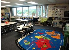 Can this travel/world themed classroom be any better? I love that it's a fun educational theme that ties it all together, and provides fun/meaningful geography every day!