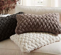 Braided Knit Lumbar Pillow Cover | Pottery Barn