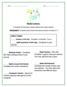 Math Center checklist...keep students on task and busy while working with guided math groups :)