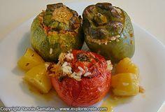 gemista or yemista - Greek Stuffed Tomatoes, popular vegetarian dish in Greece