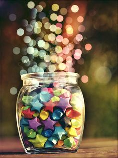 lights, paper stars, magic, colors, art, papers, origami, rainbow, jars