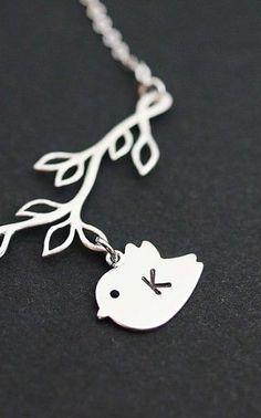 bird + branch necklace