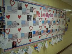 February Bulletin Board... Each flag has interesting facts about each president.