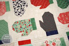 Mittens and Main Pillow featuring Moda - BasicGrey's Christmas collection